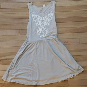 Taupe Dress with White Embellishment